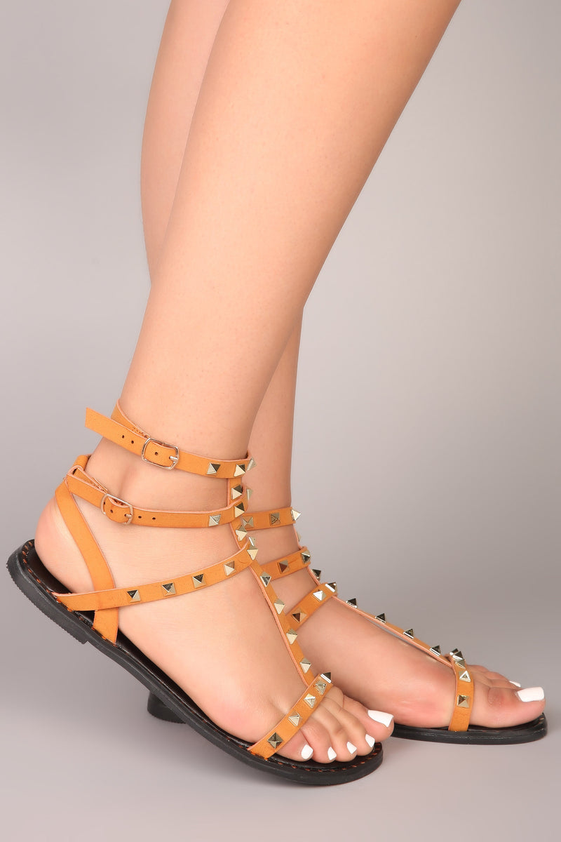 Raelynn Studded Sandals - Camel