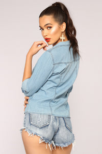 Simple Life Denim Top - Medium Wash