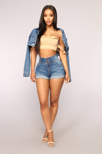 Button Pusher High Rise Denim Shorts - Medium Blue Wash
