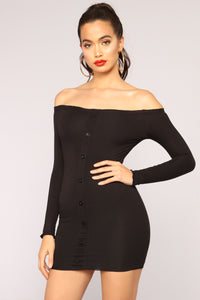 Jasmine Off Shoulder Mini Dress - Black