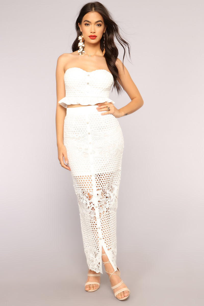 A Touch More Lace Set - White