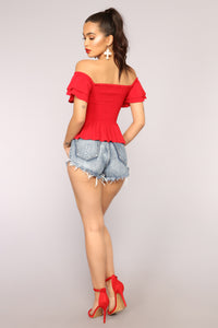 Anaith Off Shoulder Top - Red
