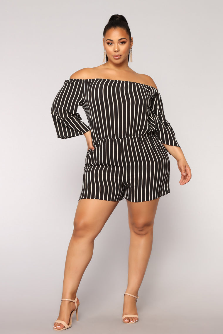 Davie Stripe Romper - Black/White