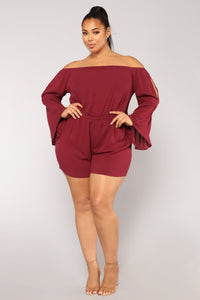 Maine Off Shoulder Romper II - Burgundy