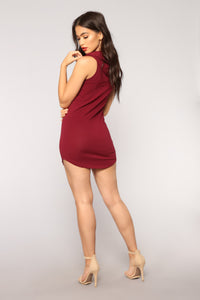Chill Out Hoodie Dress - Burgundy