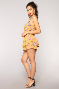 See You Later Sailor Striped Romper - Mustard Multi