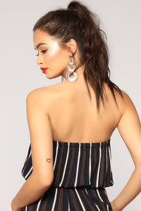 Love Me Or Hate Me  Stripe Jumpsuit - Navy Multi