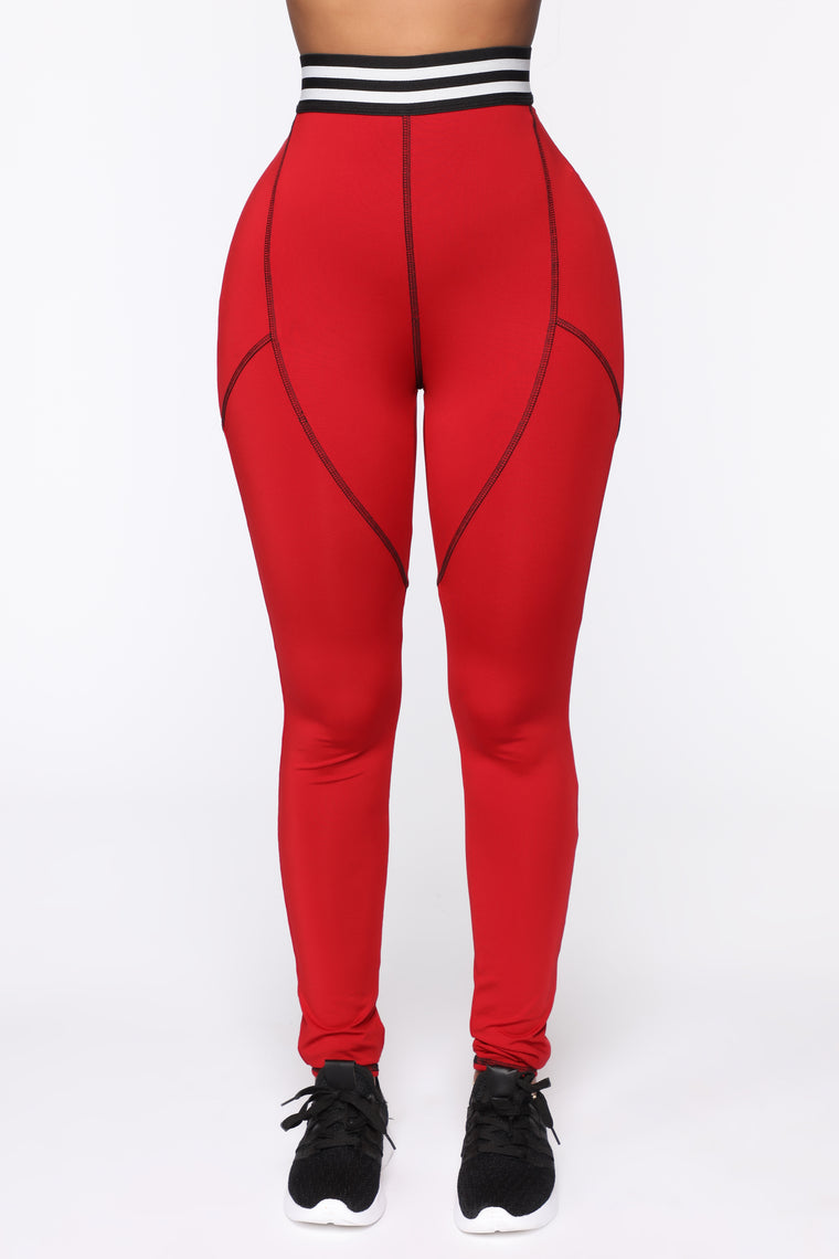 Better Off Without You Leggings - Red/Black