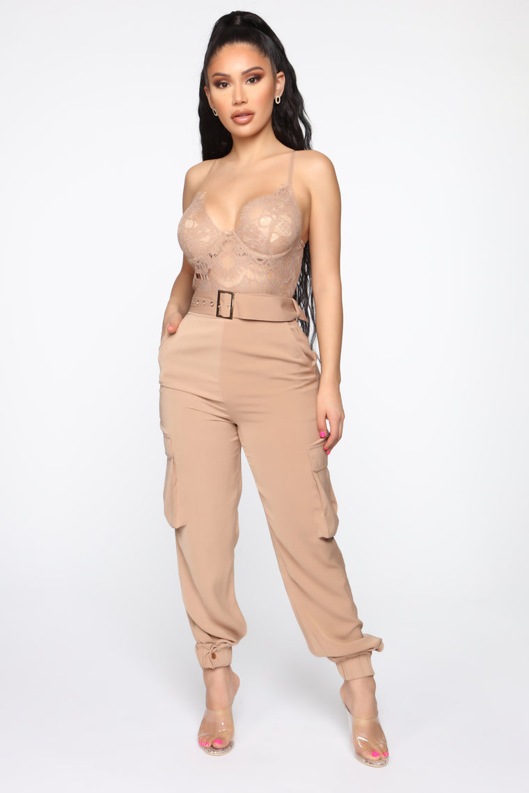 Kora Lace Jumpsuit   Taupe by Fashion Nova