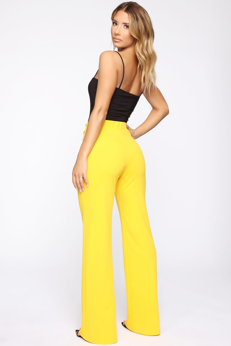 Bailey Button High Rise Pants - Yellow