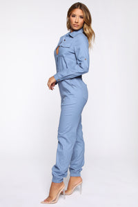 Aviator Babe Jumpsuit - Denim Blue Angle 3