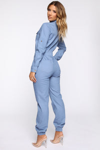 Aviator Babe Jumpsuit - Denim Blue Angle 4
