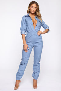 Aviator Babe Jumpsuit - Denim Blue Angle 1