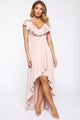 Delia Ruffle Hi Lo Dress - Blush