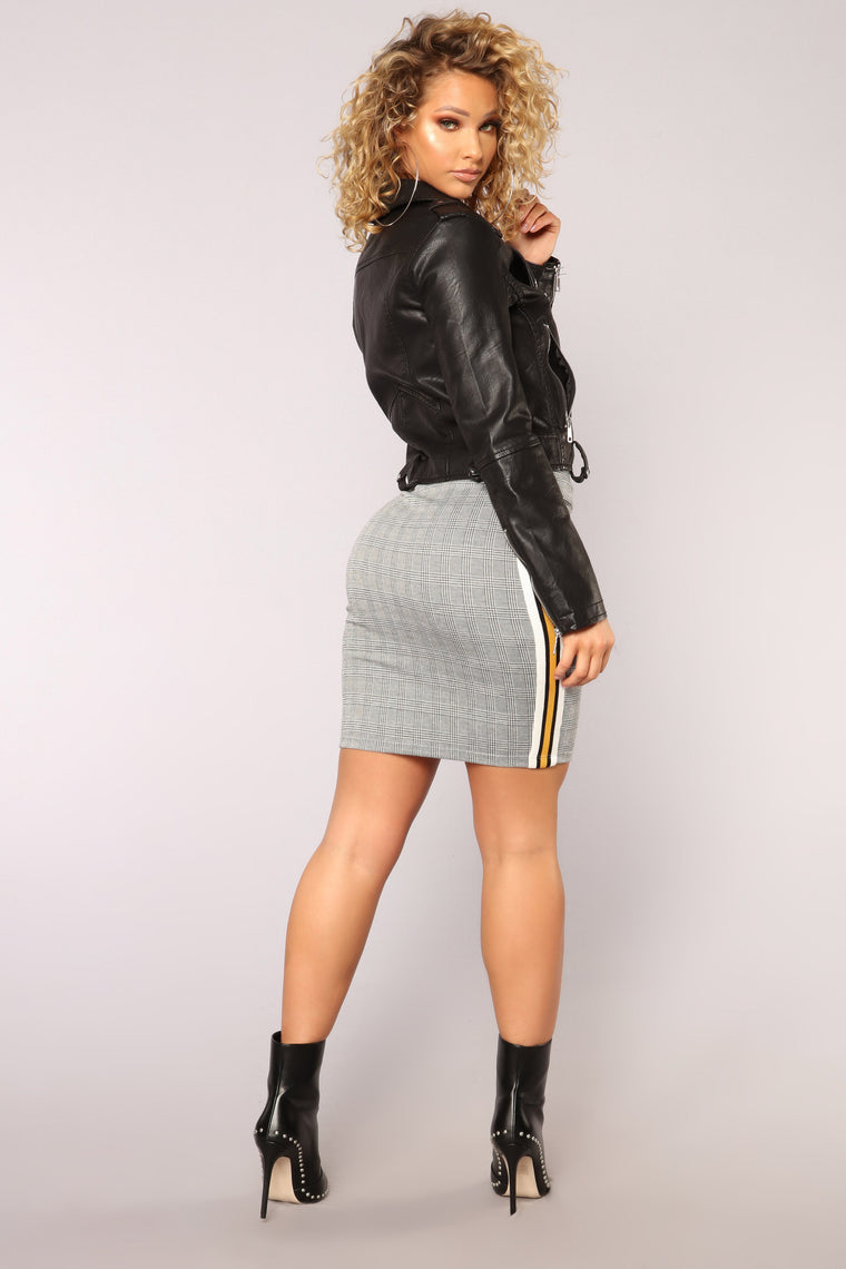 Heather Pencil Skirt - Grey