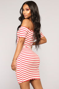 Anesca Stripe Dress - Ivory/Red