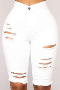 Love My Denim Bermudas - White