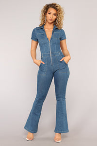 Road Runner Flare Leg Jumpsuit - Medium Blue Wash
