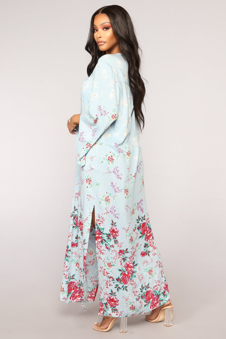 You've Got A Way Floral Kimono - Blue/combo
