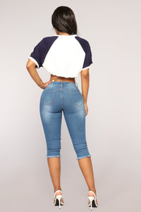 Long Song Denim Bermudas - Medium Blue Wash