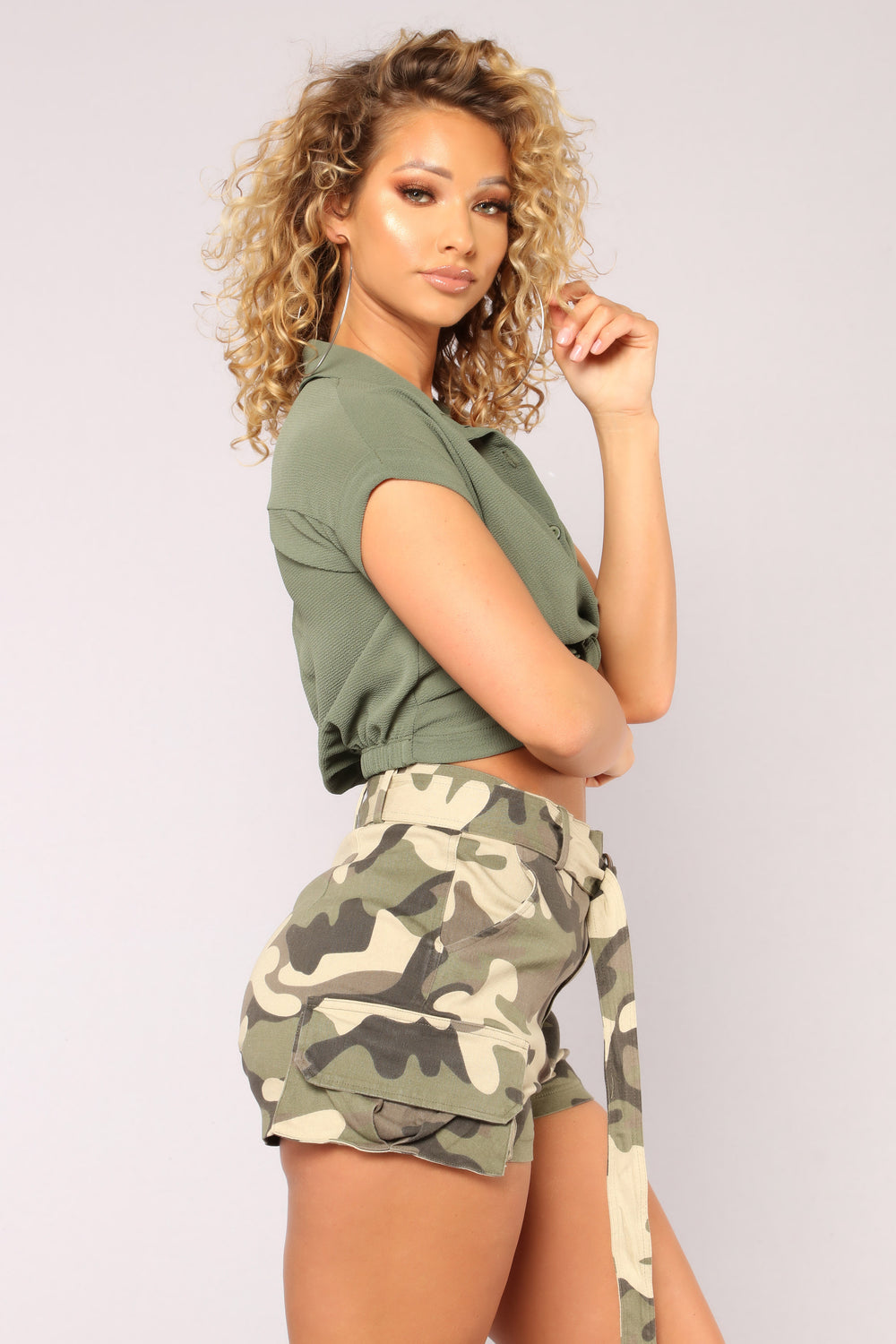 Office Babe Crop Top - Olive