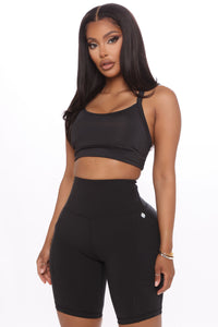 Strong Is Sexy Active Sports Bra - Black Angle 1