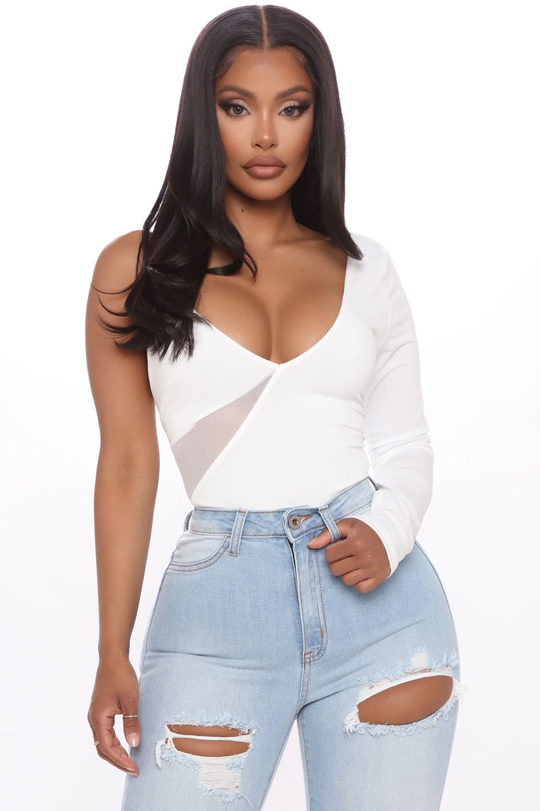 Just A Peek One Shoulder Bodysuit - White