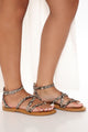 Still Here Today Strappy Sandals - Multi Color