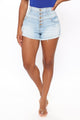 Stay Awhile Exposed Button Denim Shorts - Light Blue Wash