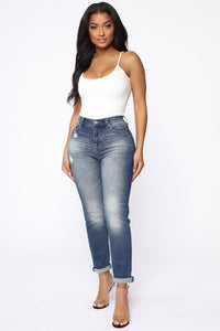 Need A New High Rise Mom Jeans - Dark Denim Angle 1