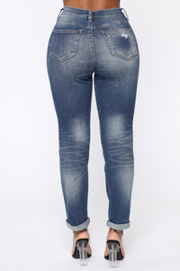 Need A New High Rise Mom Jeans - Dark Denim Angle 6