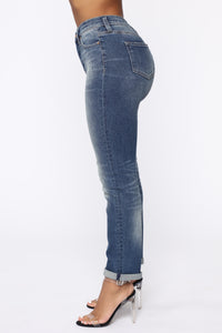 Need A New High Rise Mom Jeans - Dark Denim Angle 3