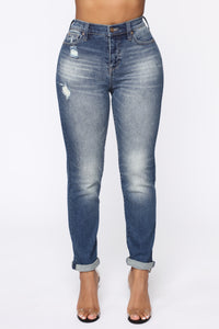 Need A New High Rise Mom Jeans - Dark Denim Angle 2