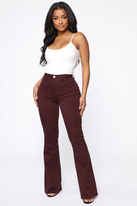 Valentina High Rise Flare Jeans - Plum Angle 1