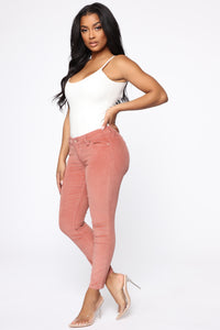 I'm Down Low Rise Corduroy Pants - Blush