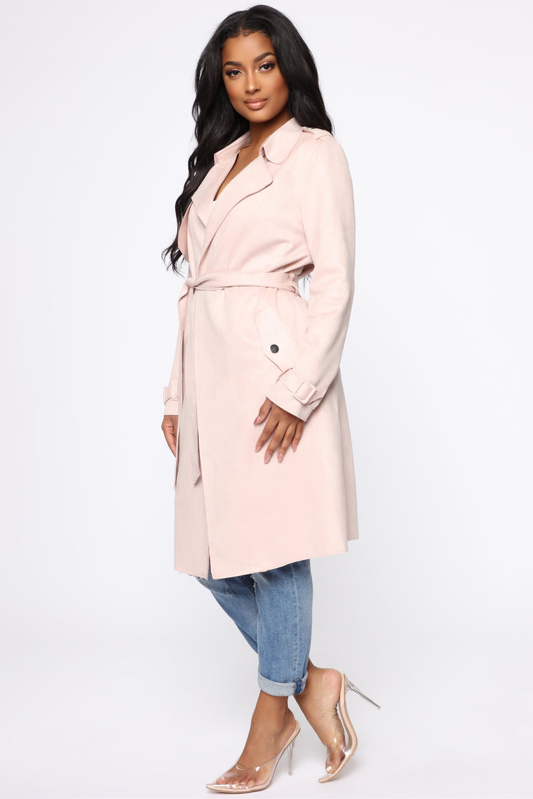 On The Go Trench Coat - Blush