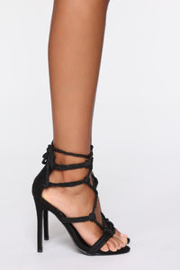 What A Temper Heeled Sandal - Black