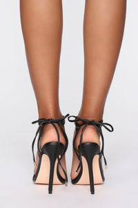 Oh Come On Now Heeled Sandals - Black