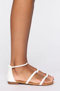 Cute And Simple Flat Sandals - White
