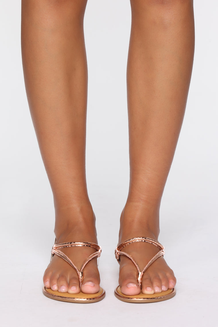 Simply Me Flat Sandals - Rose Gold