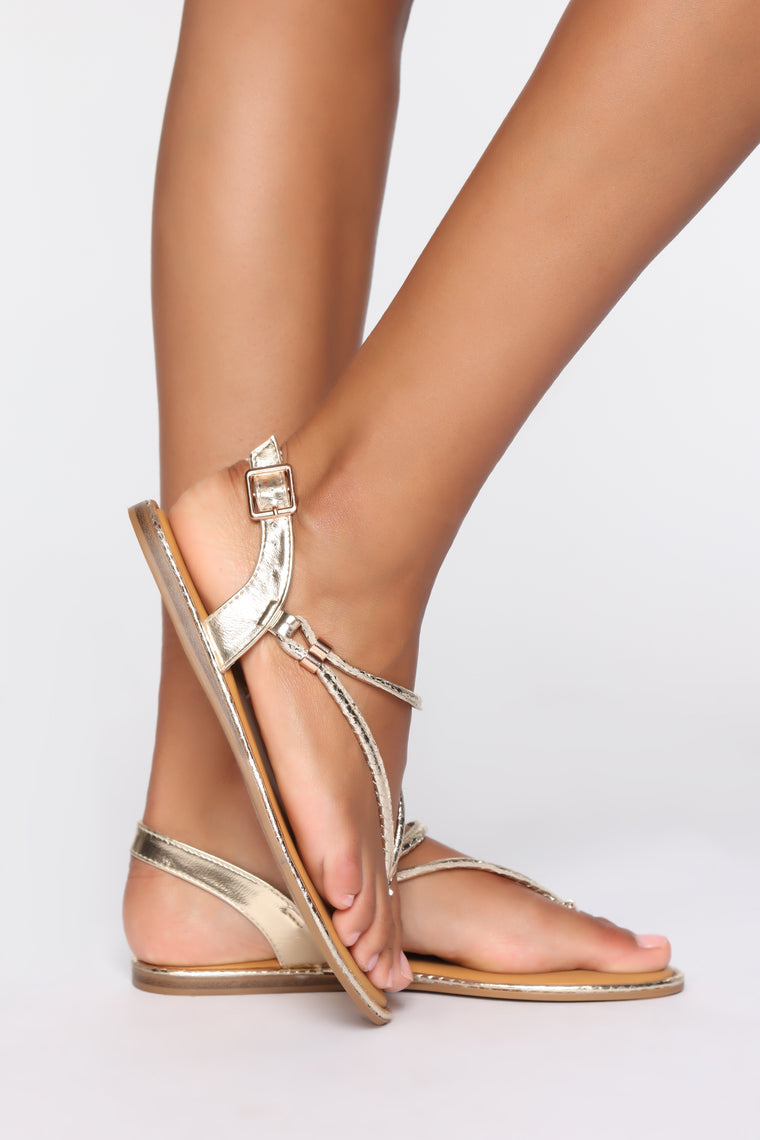 Simply Me Flat Sandals - Gold