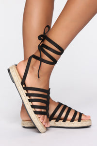False Alarm Flat Sandals - Black