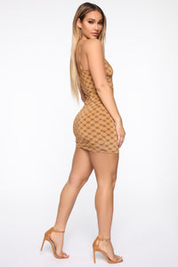 Interested In Expensive Things Mini Dress - Mocha/Combo