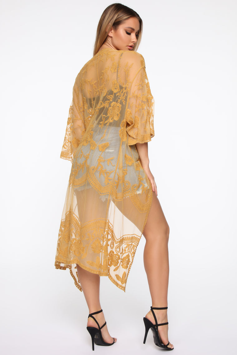 On Your Side Embroidered Kimono - Mustard