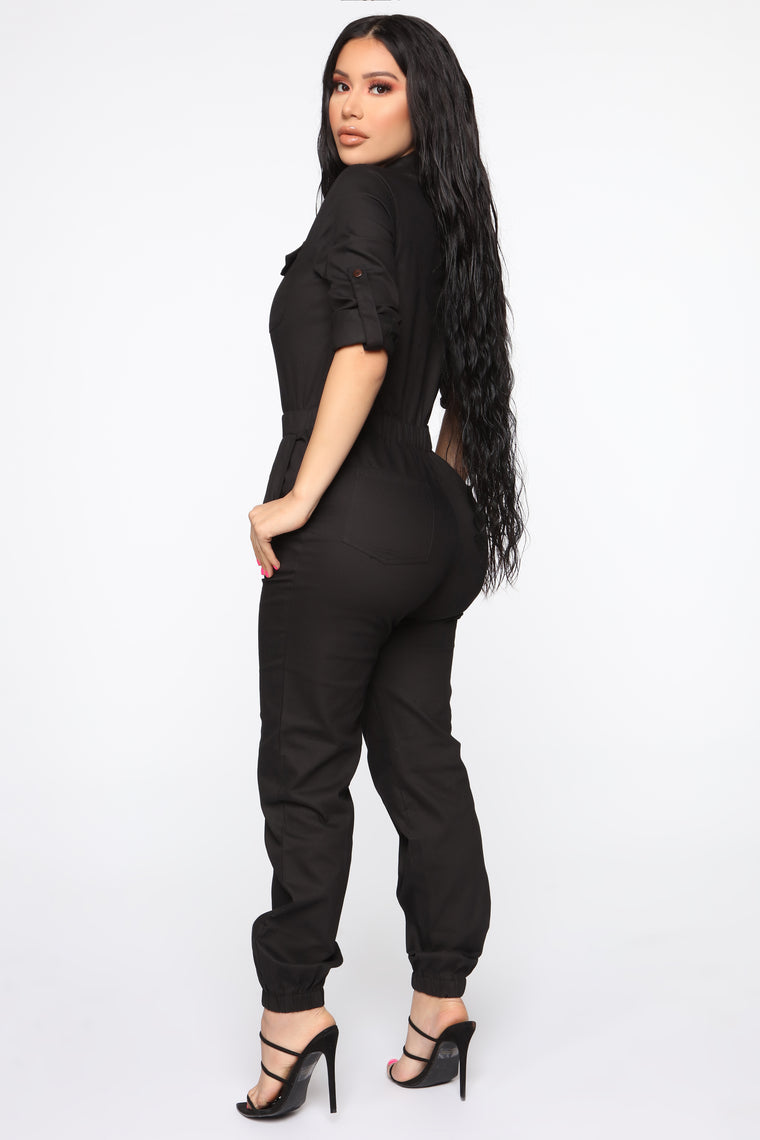 Aviator Babe Jumpsuit - Black