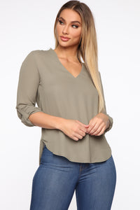 I'm Unavailable Top - Olive Angle 1