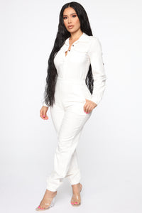 Aviator Babe Jumpsuit - Off White