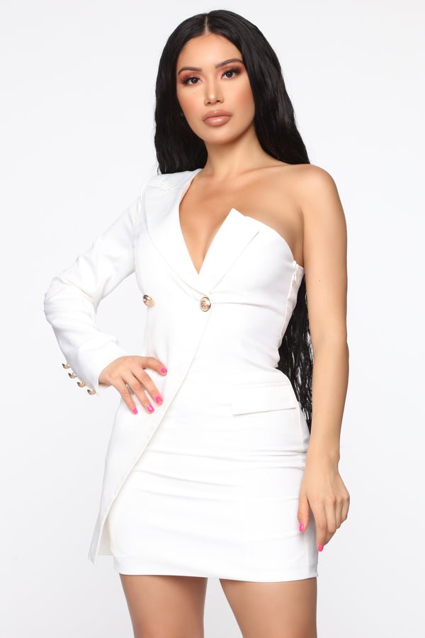 6a4ad1d585 Working It Out One Shoulder Mini Dress - Off White