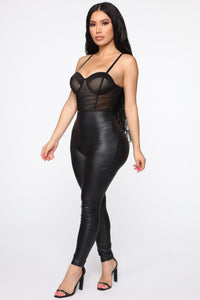 Craving Attention Ruched Bodysuit - Black