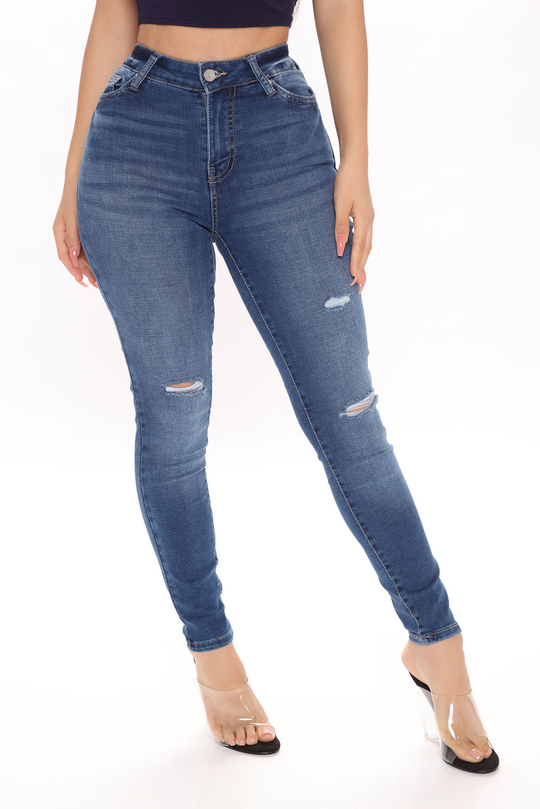 She's Got It All Mid Rise Skinny Jeans - Dark Wash